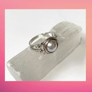 Faux White Pearl Ring